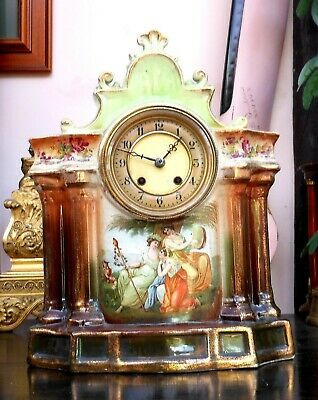 Fabulous eight day very large antique porcelain clock with a classic French move