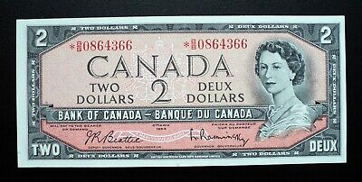 1954 BANK OF CANADA $2 Dollars Replacement Note  *B/B 0864366  BC-38bA