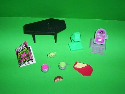 Monster High Coffin Table Food Drinks Book Tray 9 Pieces Mixed Lot from Playset