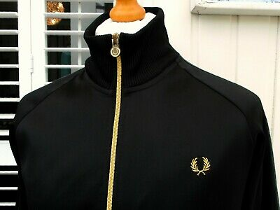 """Fred Perry Black Polyester Bomber Jacket - M/L - 42"""" - Ska Mod Casuals Scooter"""