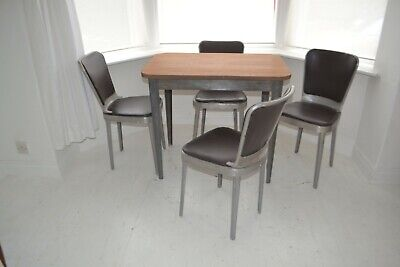 Stunning Vintage Edwin Clinch Walnut Dining Table & Chairs - Industrial