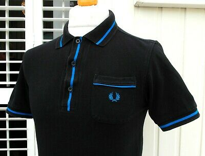 "Fred Perry Black Bold Tipped Pique Polo - 36"" - XS/S - Ska Mod Scooter Casuals"
