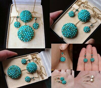 Fab Antique Victorian Pave Set Natural Turquoise Gold Silver Necklace & Earrings