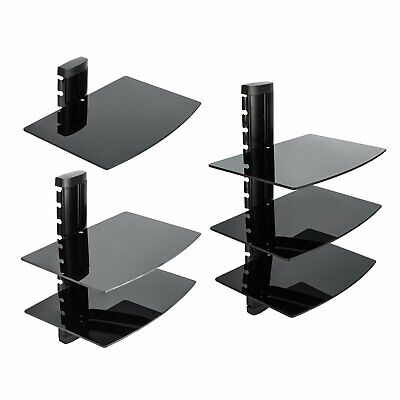 1/2/3 Tiers Tempered Black Glass Floating Shelf Wall Mount Consoles/DVD players