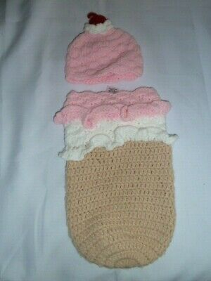 So Dorable Boutique Knit Crocheted Baby Girl Ice Cream Cone Cocoon Photo 0-3