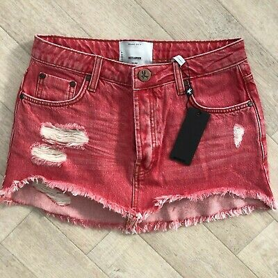 0a4f9a79a6 One Teaspoon JUNKYARD Mini Skirt Red Organic Jeans 23 24 25 26 27 28 29 30
