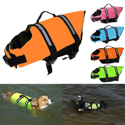 UK Puppy Life Jacket Pet Swim Summer Safety Vest Dog Reflective Stripe
