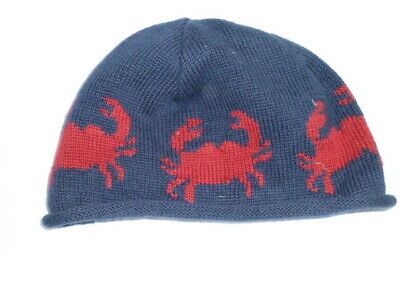 Ll L.l Bean Baby Infant Navy Blue Red Crab Knit Knitted Hat Cap Beanie 6-12 Mos