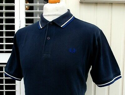 "Fred Perry M1200 Navy Twin Tipped Polo - M/L - 42"" - Ska Mod Scooter Workwear"