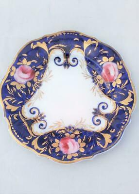 English Regency Porcelain Plate Painted Pink Roses Gilded Blue Ground c 1815