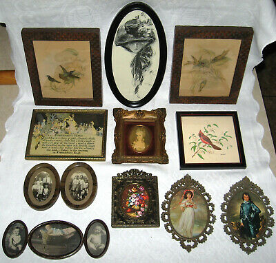 Lot Of 11 Antique Picture Frames Wall Decor w Vintage Prints Keep or Use Frames