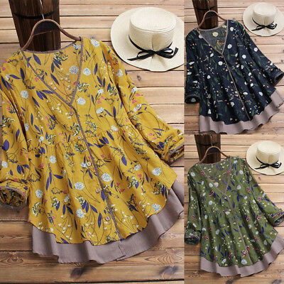 Plus Size Women Layered Floral Loose Blouse Shirt Fall T-shirt Top Pullover CA