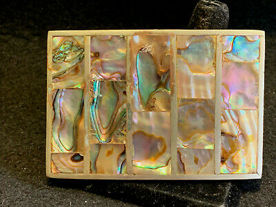 Old Vtg Collectible Silver Tone Metal And Inlaid Abalone Shell Belt Buckle