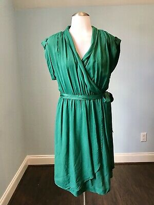 5c5d072484be MAEVE ANTHROPOLOGIE Green Shirt Dress with Tie Waist and Slip Underneath Sz  M