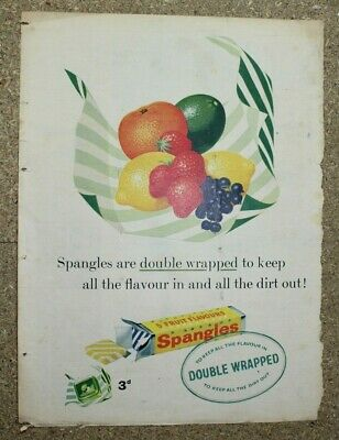Vintage 1950's newspaper advertising poster Spangles confectionary fruit