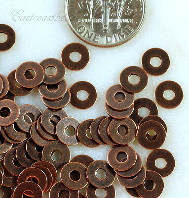 TierraCast Micro Washers, Embellishments, Copper Plate, 6.35mm, 100 Piece, 7018