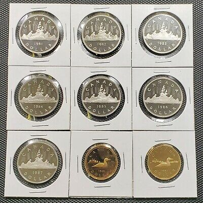 Canada 1981 - 1989 Set of 9 Different One Dollar Proof Cameo Coin Collection Lot