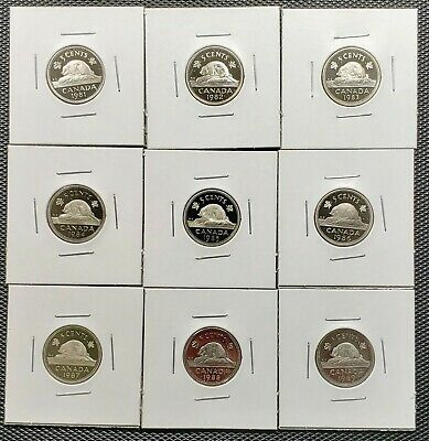 Canada 1981 - 1989 Set of 9 Different 5 Cents Proof Cameo Coins Collection Lot