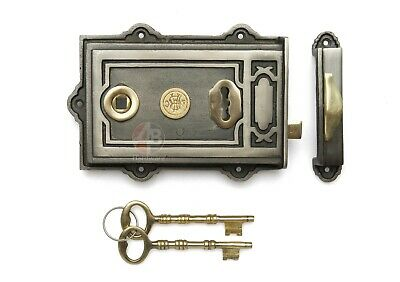 Victorian Style Antique Cast Iron & Brass Davenport Door Rim Lock