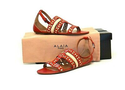 a1a034032ae21 ALAIA Red Leather Flat Ankle Strap Dress Sandals Size 37.5 EU /7 - NEW/