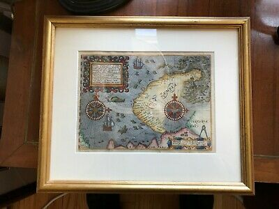 A Rare and Beautiful Original of the 1601 Theodore De Bry Map of Nova Zembla.