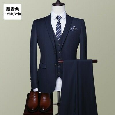 Mens Suits Bridegroom Wedding Business Professional  3 Piece Jackets Vest Pants