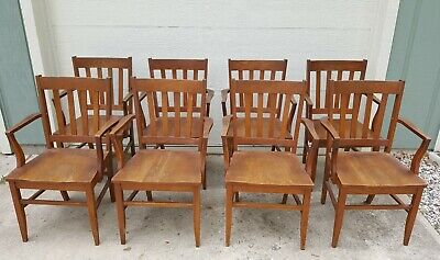 Antique Mission Oak Art & Crafts Arm Chairs Set Of 8