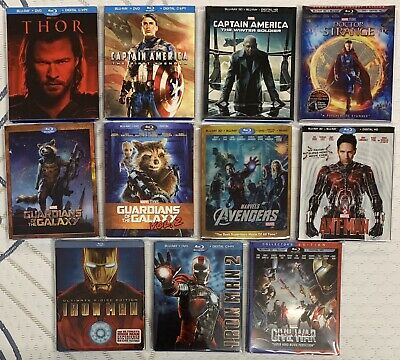 Rare Marvel Blu-ray Lot (11) Thor Captain America Iron Man Guardians Best Buy