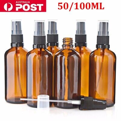 50/100ml Amber Round Glass Spray Bottle Container Perfume Liquid Bottles 1-10PCS