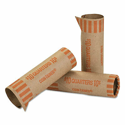 Preformed Tubular Coin Wrappers, Quarters, $10, 1000 Wrappers/Box 20025  - 1