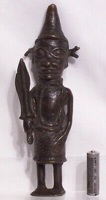 Very old Benin cast bronze figure of a warrior with large sword