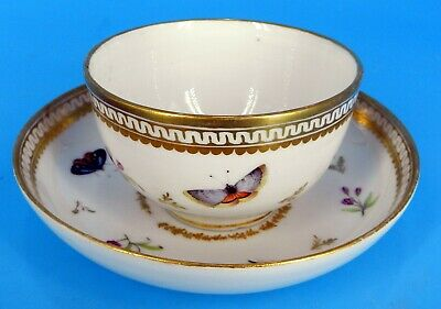 ANTIQUE KPM Cup & Saucer Bowl INSECT BUTTERFLY SCEPTRE MARK