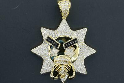 14K Yellow Gold Plated Hip Hop Micro Pave CZ Drunk Double Cup Pendant with Chain