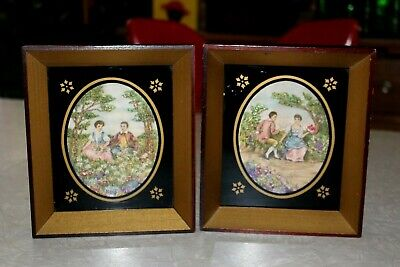 2-1920's VTG Hiawathe Heirloom Colored Embroidery in Shadow Box Painted Frames