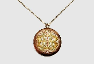 Vintage 14k Yellow Gold Necklace w. Rose & Yellow Gold Locket Pendant BMT (Hil