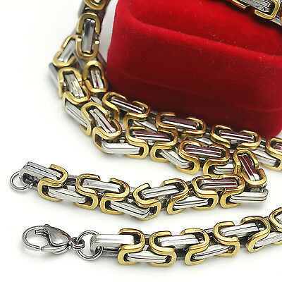 Large 8.5mm Gold Silver Stainless Steel Byzantine Link chain Necklace 24 inch