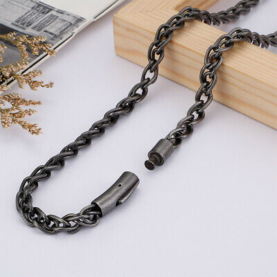 Hot Vintage Black 6mm 26'' Stainless steel twisted chain Necklace For mens Gifts