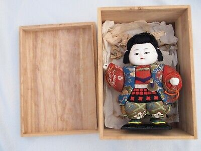 Japanese Samurai Warrior Dressed Doll with wooden box