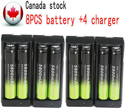 8pc 18650 5800mAh Rechargeable Battery 3.7V Li-ion + 4pcs Smart Charger Canada-
