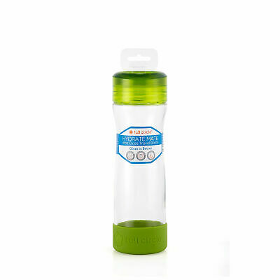 full circle Hydrate Mate 16 oz. Glass Bottle - Lime Green