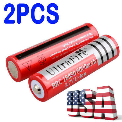 6000mAh 2X 18650 Battery 3.7V Li-ion Rechargeable For Flashlight Torch Batteries