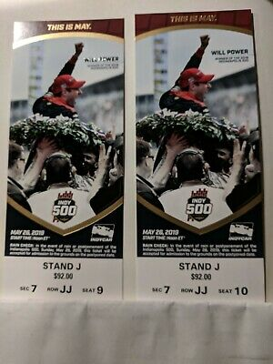 2019 Indy 500 Tickets(2) - **TOP ROW** Stand J Section 7 Row JJ - Free shipping
