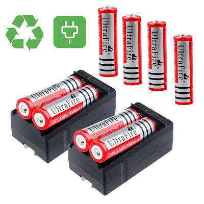 8PCS UltraFire 3000mAh 18650 3.7V Li-ion Rechargeable Batteries + 2xDual Charger