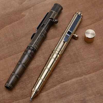Handmade Brass Ballpoint Pen EDC Tool Retro Bolt Type Signature Pen