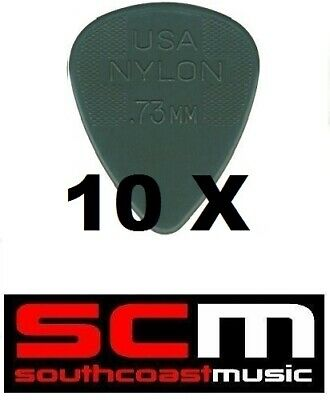 "10 X .73mm Nylon ""Grey"" Plectrums Guitar Pick By Jim Dunlop 10 X Plectrum Picks"