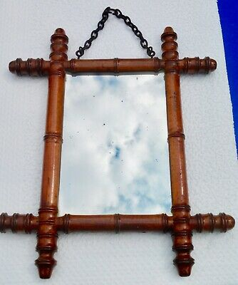 Antique Mirror Ice - Gilt Wood Frame Imitation Bamboo Patent