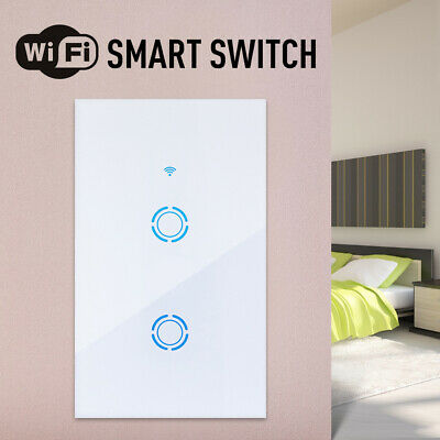 Smart 1/2/3 Gang US Panel Glass Touch LED Light Switch Wifi,Remote,Dimmer Switch