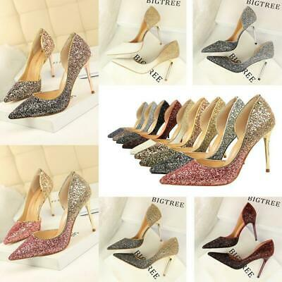 2019 Women Bling Pumps High Heels Stiletto Sandals Point Toe D'orsay Party Shoes