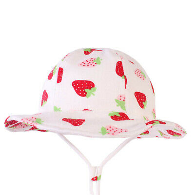 09e0ec0c Baby Girl Cotton White Strawberry Bucket Sun Hat Chin Strap Age 6-12