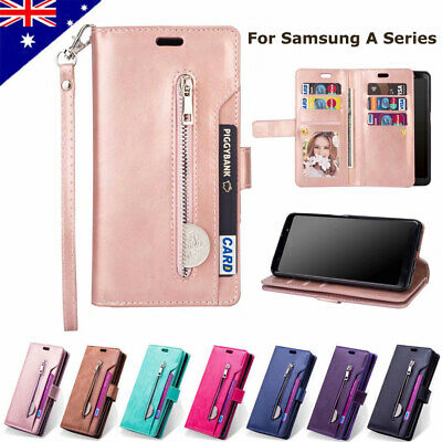 For Samsung Galaxy A50 A20 A30 Zipper Leather Wallet Case Card Slots Cover NEW